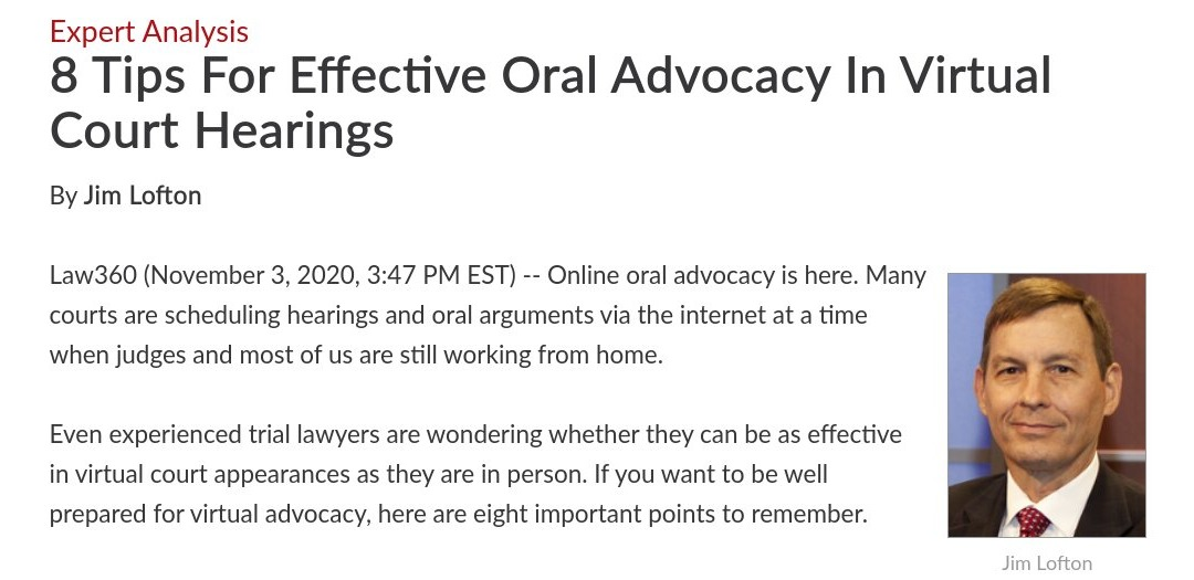 8 Tips For Effective Oral Advocacy In Virtual Court Hearings - Law360